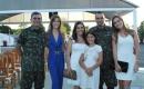 Tenente-coronel Guina e Beatriz, tenente-coronel Rizzo Ribeiro com Claudia, Maria Eduarda e Ana Carolina