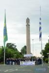 Mobilização ocorreu em pontos estratégicos da cidade, como no posto da PRF, Receita Federal e Delegacia da Polícia Federal, além de ato no Parque Internacional. Foto: Marcelo Pinto/AP